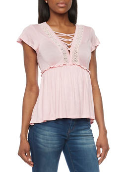 Lace Up V Neck Empire Waisted Peasant Top - 1305058756736