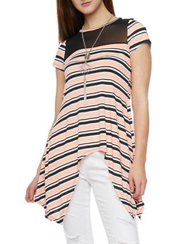 Striped Mesh Yoke Sharkbite T Shirt with Necklace - 1305058756756