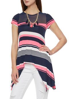 Asymmetrical Striped Short Sleeve Top with Mesh Yoke - 1305058756757