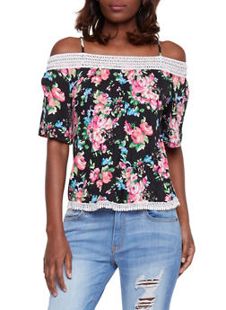 Floral Cold Shoulder Top with Crochet Trim - 1305058756766