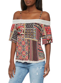 Printed Off The Shoulder Top with Crochet Trim - 1305058756767
