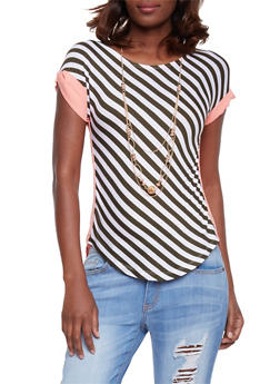 Diagonal Stripe Sheer Back Top with Cuffed Short Sleeves - 1305058756774