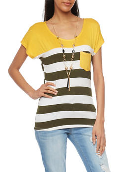 Striped Color Block T Shirt with Necklace - 1305058756776