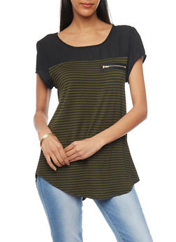 Mesh Stripe Cap Sleeve T Shirt with Front Zip Accent - BLK/OLIVE - 1305058756777