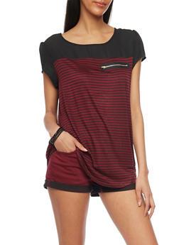 Mesh Stripe Cap Sleeve T Shirt with Front Zip Accent - BLK/BURG - 1305058756777