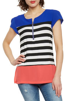 Striped Color Block Top with Cap Sleeve - 1305058756781