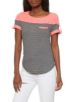 Striped Short Sleeved Top with Tabbed Shoulder - 1305058756784