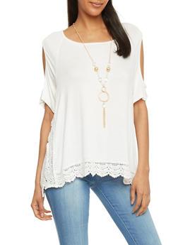 Short Sleeve Cold Shoulder Top With Crochet Trim - 1305058756785