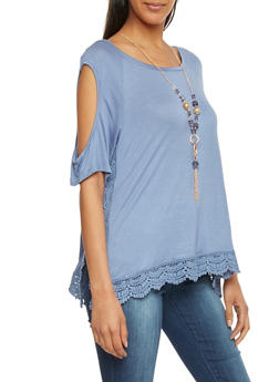 Short Sleeve Cold Shoulder Top with Crochet Trim - 1305058756785