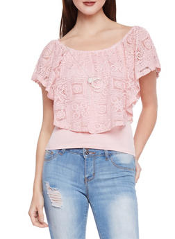 Sleeveless Top with Lace Overlay - 1305058756818
