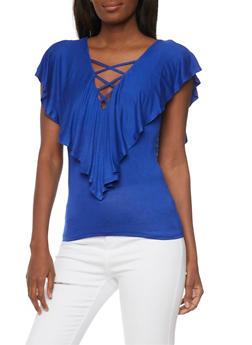 Cap Sleeve Top with Caged Deep V Neck and Ruffle Detail - 1305058756822