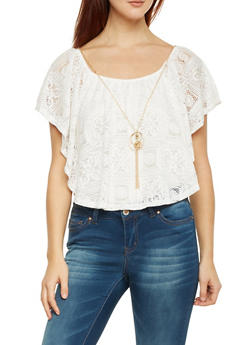 Sleeveless Top with Lace Overlay and Necklace - 1305058756871