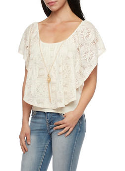Sleeveless Top with Lace Overlay and Necklace - CREAM - 1305058756871