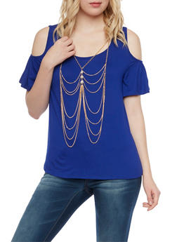 Cold Shoulder Top with Removable Body Chain - 1305058756880