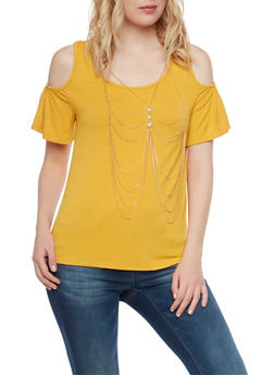 Cold Shoulder Top with Removable Body Chain - MUSTARD - 1305058756880