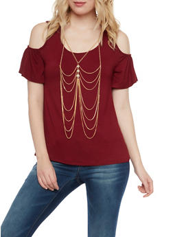 Cold Shoulder Top with Removable Body Chain - BURGUNDY - 1305058756880