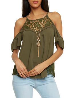 Lace Yoke Cold Shoulder Crepe Knit Top with Necklace - OLIVE - 1305058756932