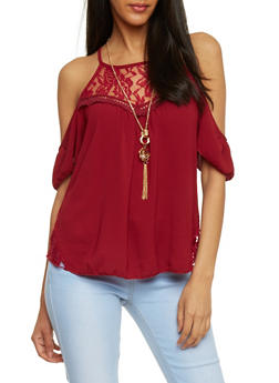 Lace Yoke Cold Shoulder Crepe Knit Top with Necklace - 1305058756932