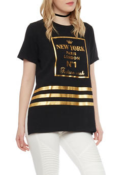 Gold Foil Graphic Boyfriend T Shirt - 1305058756962