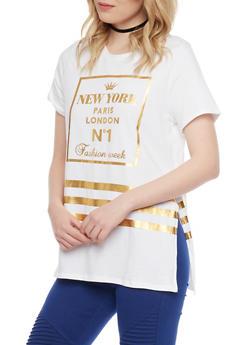 Gold Foil Graphic Boyfriend T Shirt - 1305058756962