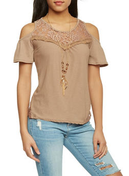 Crochet Trim Cold Shoulder Top - 1305058756980
