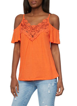 Short Sleeve Cold Shoulder Top with Lace Yoke - 1305058757007