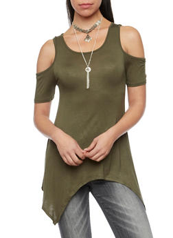 Cold Shoulder Top with Layered Necklace and Asymmetrical Hem - OLIVE - 1305058757019