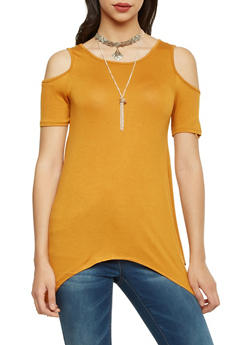Cold Shoulder Top with Layered Necklace and Asymmetrical Hem - 1305058757019