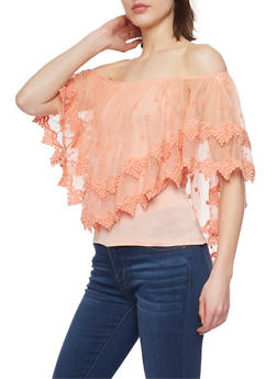 Off the Shoulder Mesh Overlay Top with Crochet Trim - 1305058757071