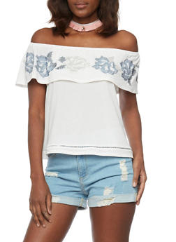 Off the Shoulder Top with Embroidered Ruffle Overlay - 1305058757104