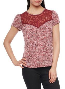 Lace Yoke Neck Knitted Top with Back Keyhole - BURG/WHT - 1305058757126