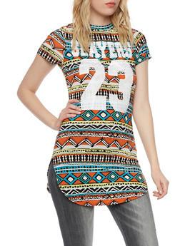 Dashiki Print Tunic Top with Slayers 23 Graphic - 1305058757158