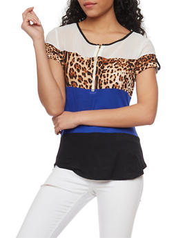 Sheer Yoke Color Block Top with Leopard Panel - 1305058757165