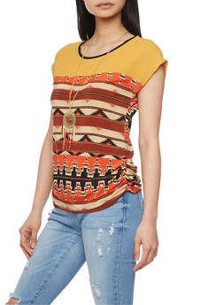 Sleeveless Aztec Print Top with Necklace - 1305058757215