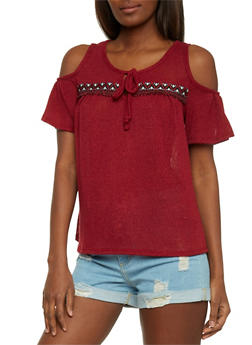 Short Sleeve Cold Shoulder Top with Embroidered Trim Detail - 1305058757273