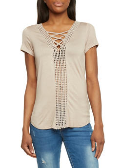 Cap Sleeve Cage V Neck Top - 1305058757286