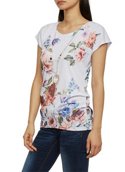 Floral Short Sleeve Ruched Top with Necklace - 1305058757374
