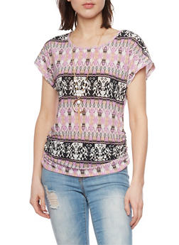 Short Sleeve Ruched Printed Top with Necklace - 1305058757375