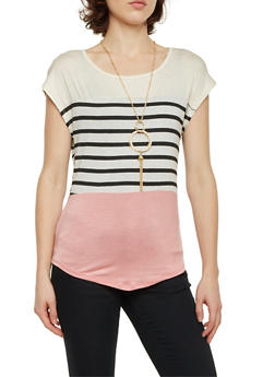 Color Block Striped Top with Necklace - 1305058757405