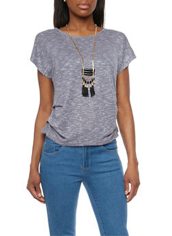 Ruched Short Sleeve Top with Necklace - 1305058757429