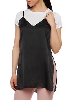 Layered Satin Cami Tunic T Shirt - WHT-BLK - 1305058757595