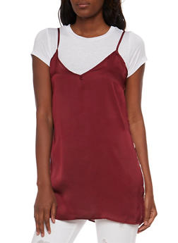 Layered Satin Cami Tunic T Shirt - WHT/BURGUNDY - 1305058757595