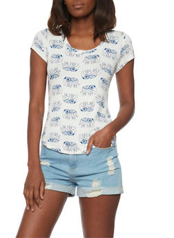Short Sleeve Elephant Print T Shirt - 1305058757597