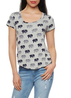 Elephant Print Short Sleeve T Shirt - 1305058757598