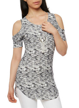 Marled Short Sleeve Cold Shoulder Top with Necklace - 1305058757672