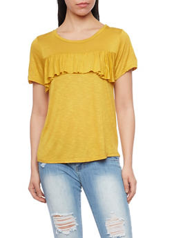 Marled Short Sleeve Top with Ruffle At Bust - MUSTARD - 1305058757716