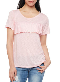 Marled Short Sleeve Top with Ruffle At Bust - 1305058757716