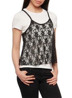 Cropped Lace Cami T Shirt - WHT-BLK - 1305058757729