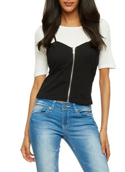 Layered Zip Front Cami T Shirt - 1305058757732