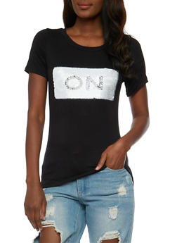 2 Way Sequined Graphic T Shirt - 1305058757952